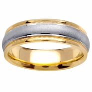 Two Toned Wedding Band with Comfort Fit in 6.5mm 14kt Gold for Men