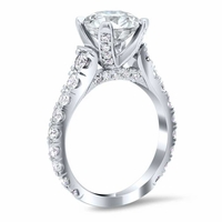 U-Pave Diamond Accented Engagement Ring with Pave Bridge and Prongs