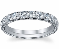 U Pave Micro Pave Diamond Eternity Wedding Band
