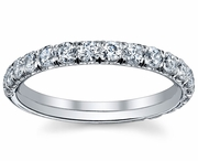 U-Prong Set Single Row Micro Pave Eternity Ring