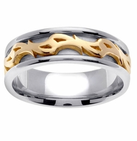 Unique Handmade Wedding Ring in 7mm 14kt Gold