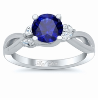 Vine Twisted Blue Sapphire Engagement Ring with Marquise Diamonds
