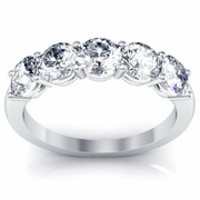 Diamond 5-Stone Ring with Round Cut Diamonds GIA-Certified