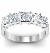 Wedding Ring with Five Princess Cut Certified Diamonds