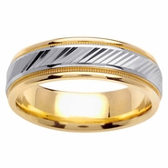 Wedding Ring Two Tone with Comfort Fit in 6.5mm 14kt Gold for Men