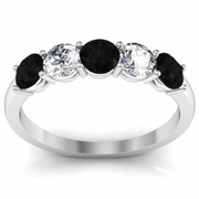 Black Diamond and White Diamond Gem Stone Ring
