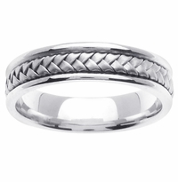 White Gold Braided Mens Ring