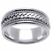 White Gold Braided Mens Wedding Ring Handmade