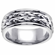 White Gold Braided Ring 14k in 8mm