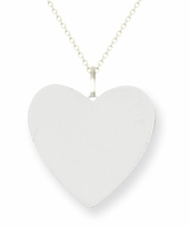 White Gold Engravable Heart Pendant 15mm