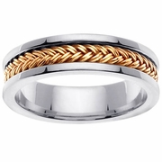 White Gold Mens Handmade Ring with Yellow Gold Braid