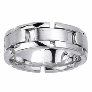 White Gold Mens Wedding Ring with Handmade Design in 8mm
