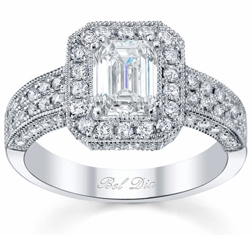 Wide Band Milgrain Micropave Halo Ring - click to enlarge