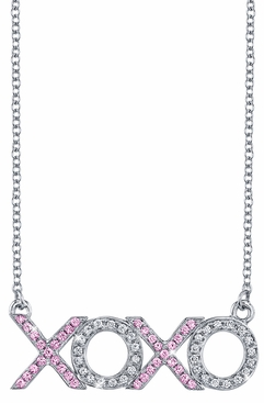 XOXO Diamond & Pink Sapphire Pendant - click to enlarge