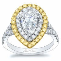 Yellow Diamond Double Halo Engagement Ring for Pear Diamond