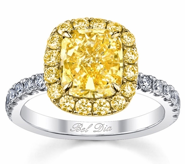Yellow Diamond Halo Engagement Ring for Canary Diamond - click to enlarge