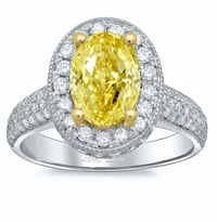 Yellow Diamond Oval Halo Engagement Ring with Pave Band