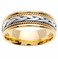 Yellow Gold Handmade Ring with White Gold Center