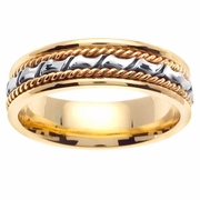 Yellow Gold Mens Handmade Ring with White Gold Accents