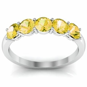 Yellow Sapphire 5 Stone Wedding Ring