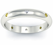 Yellow Sapphire and Diamond Domed  Landmark Eternity Ring