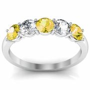Yellow Sapphire and Diamond Gem Stone Band