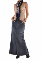 Charming Cargo Long Denim Skirt