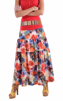 Color Splash Tiered Skirt