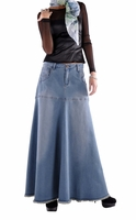 Flowing Love Long Jean Skirt