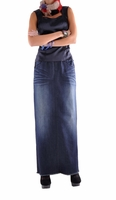 Indigo Elegance Long Denim Skirt