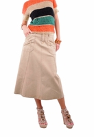 Nautical Chic Khaki Denim Skirt