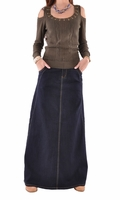 Navy Sweetheart Long Denim Skirt