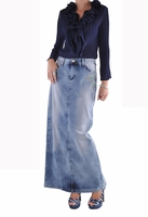 Peacock Symphony Long Denim Skirt