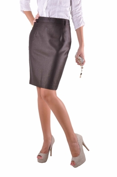 Pencil Shimmer Brown Skirt