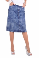 Rippled Wash Denim Skirt