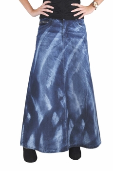Rockin Waves Long Denim Skirt