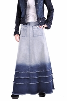 Shades of Blue Long Jean Skirt