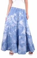 Sky Tiered Long Jean Skirt