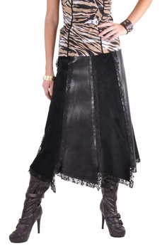 Trendy Black Leather Skirt