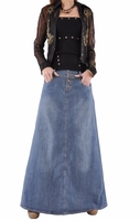 Vintage Valentine Long Denim Skirt