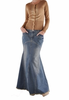 Vintage Vogue Long Denim Skirt