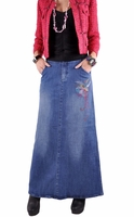 Vivid Elegance A-line Denim Skirt