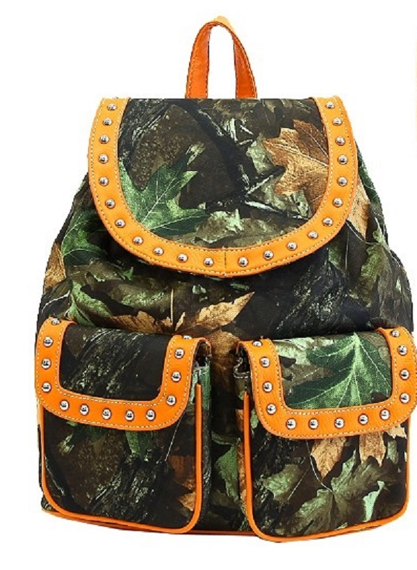 Orange & Camo Backpack Purse Handbag