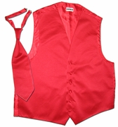 Satiny Tuxedo Vest and Tie -  2XL, 3XL, Tall 2XL, Tall 3XL