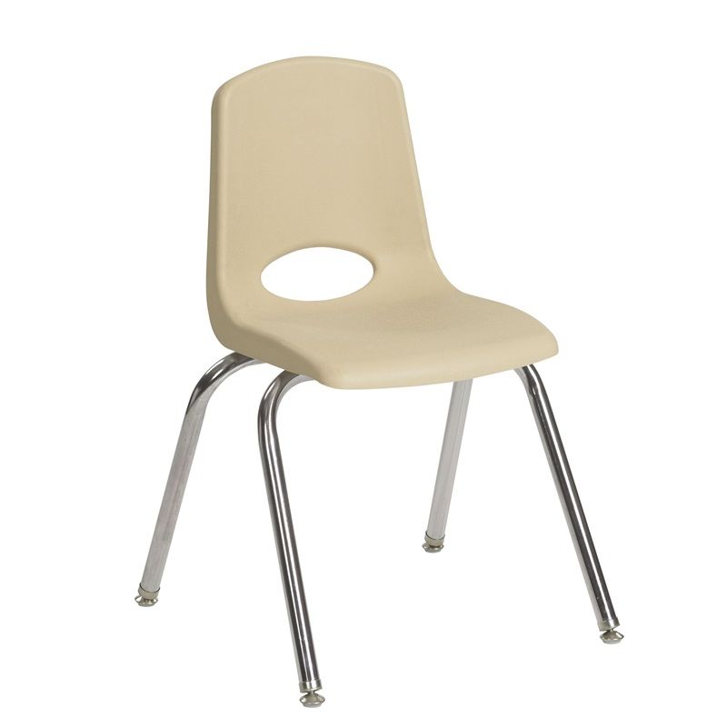 "12''H Vented Back Stacking Chair with Chrome Legs and Nylon Swivel Glides - Sand <span class=""product-code"">[ELR-0193-SDG-ecr]</span>"