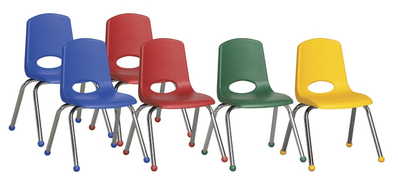 "Set of Six 16''H Vented Back Matching Seat and Ball Glides Stacking Chairs with Chrome Legs - Assorted Colors <span class=""product-code"">[ELR-15112-AS-ecr]</span>"