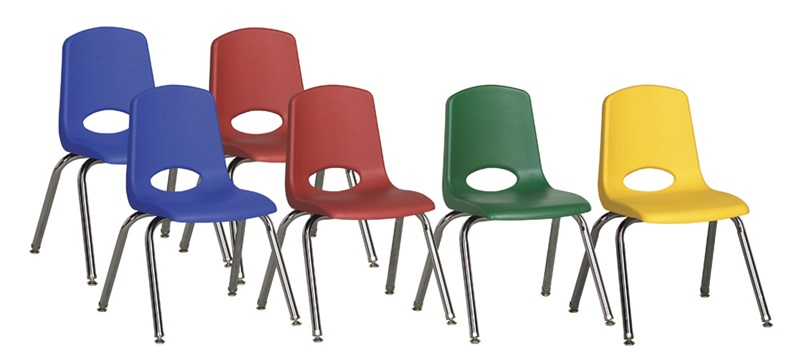 """Set of Six 16''H Vented Back Matching Leg and Seat Stacking Chairs with Nylon Swivel Guides - Assorted Colors <span class=""""product-code"""">[ELR-15120-ASG-ecr]</span>"""