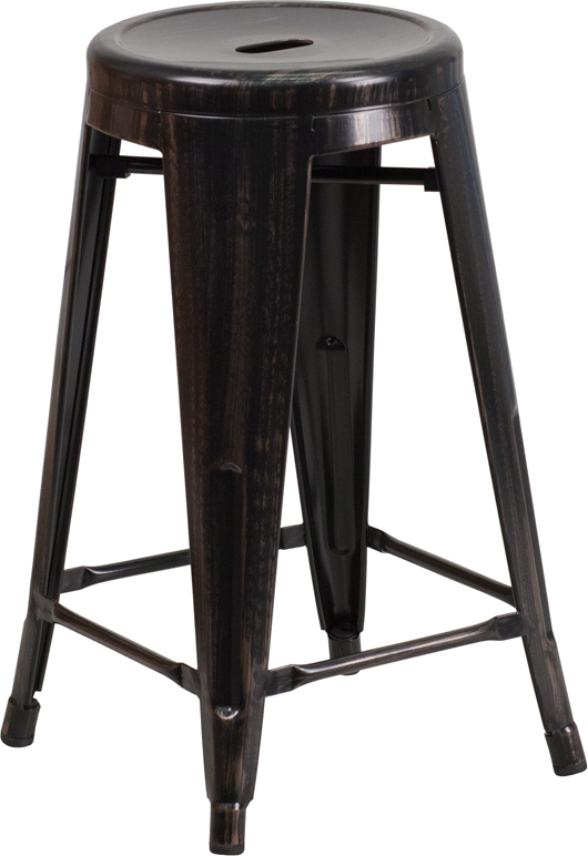 Counter Height Outdoor Stools : ... -Outdoor Counter Height Stool with Round Seat [CH-31350-24-BQ-GG