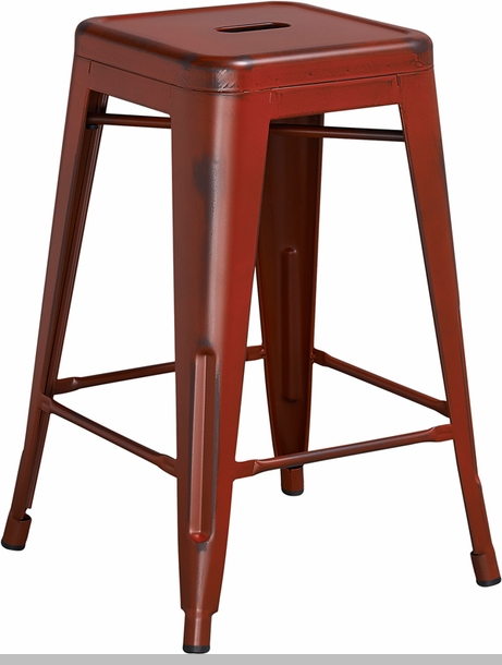 30 High Backless Distressed Kelly Red Metal Indoor
