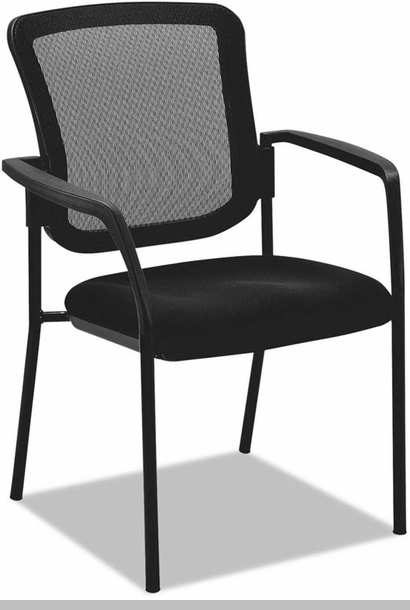 Alera Black Mesh Guest Stacking Arm Chair With Glides And Casters Black A